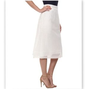 French Connection Space Lace Midi Skirt in White